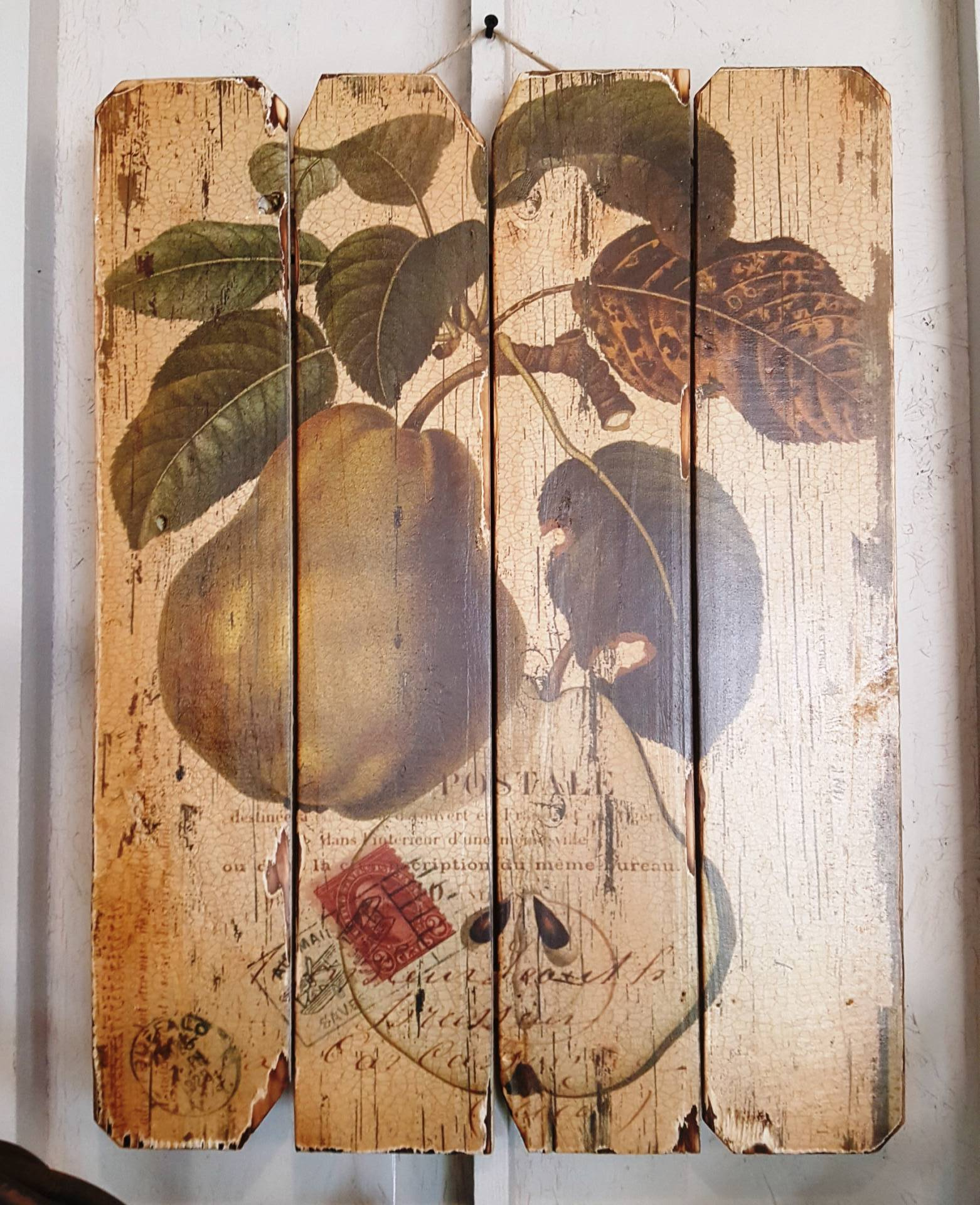 Rustic Wooden Wall Decor Plaque With Pear Picture Rustic Rose
